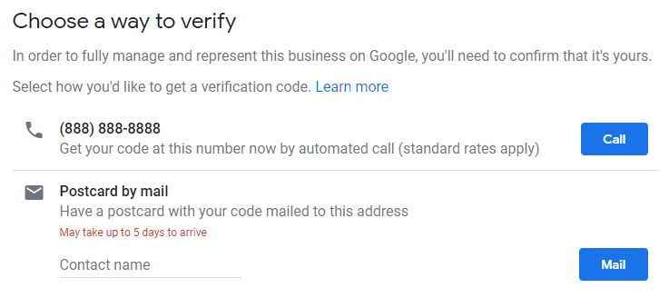 choose a way to verify your business by phone or mail
