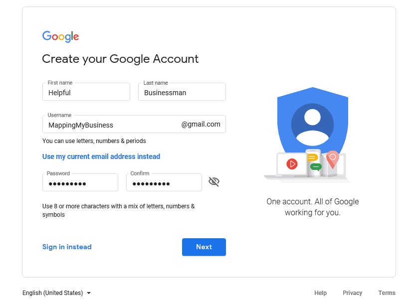 step 4 create your google account