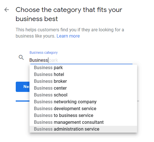 choose category that best fits your business