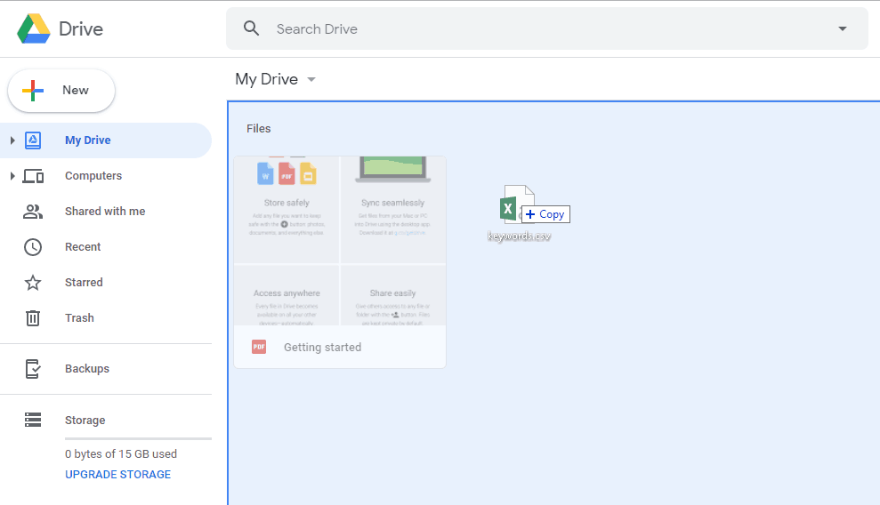 Uploading Files to Google Drive