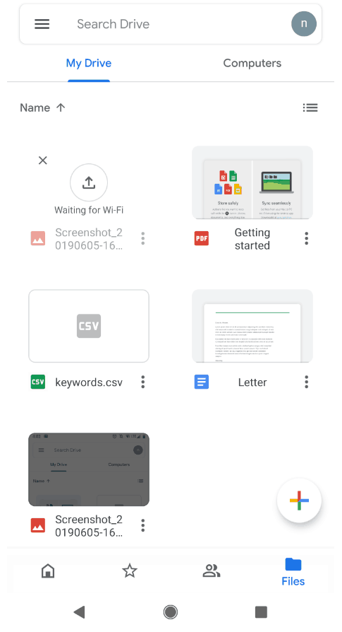 Google Drive on Mobile